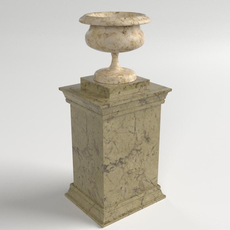 3d 3ds vase pedestal