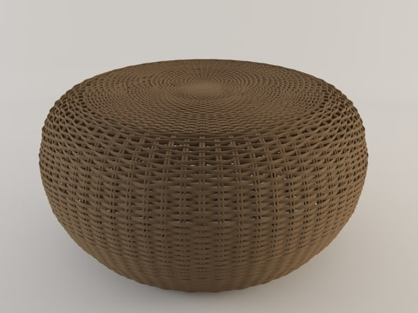 3d model rattan pouf