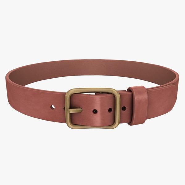 3d realistic belt 2 brown model