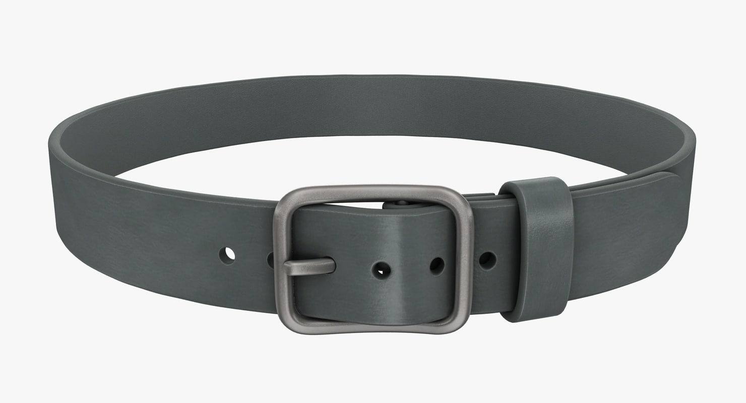 realistic belt 2 gray 3d model