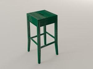 3d wood stool model