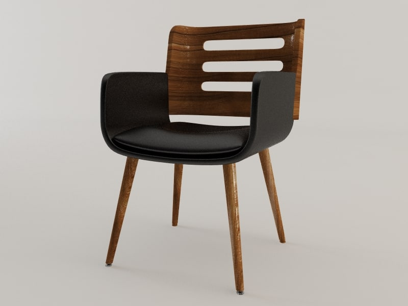 3d wood leather chair