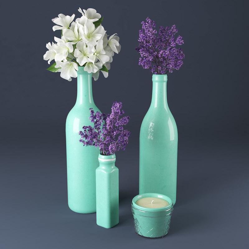 3d model flowers bottles