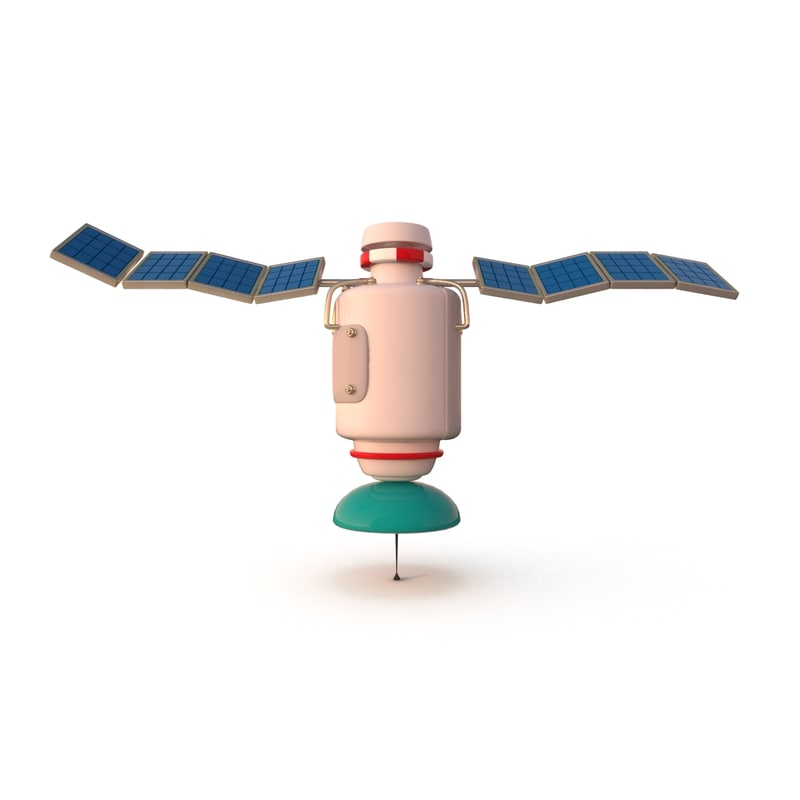 3d cartoon satellite model