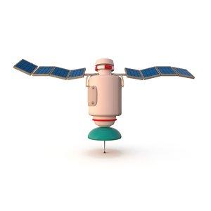 3d cartoon satellite model