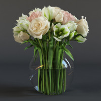 bouquet roses tulips 3d model
