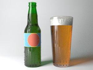 beer bottle pint 3d max