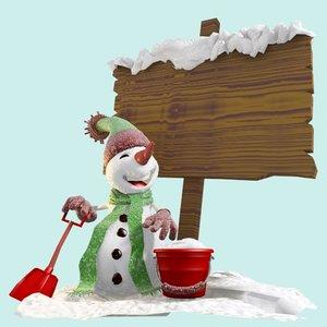 snowman cartoon winter 3d max