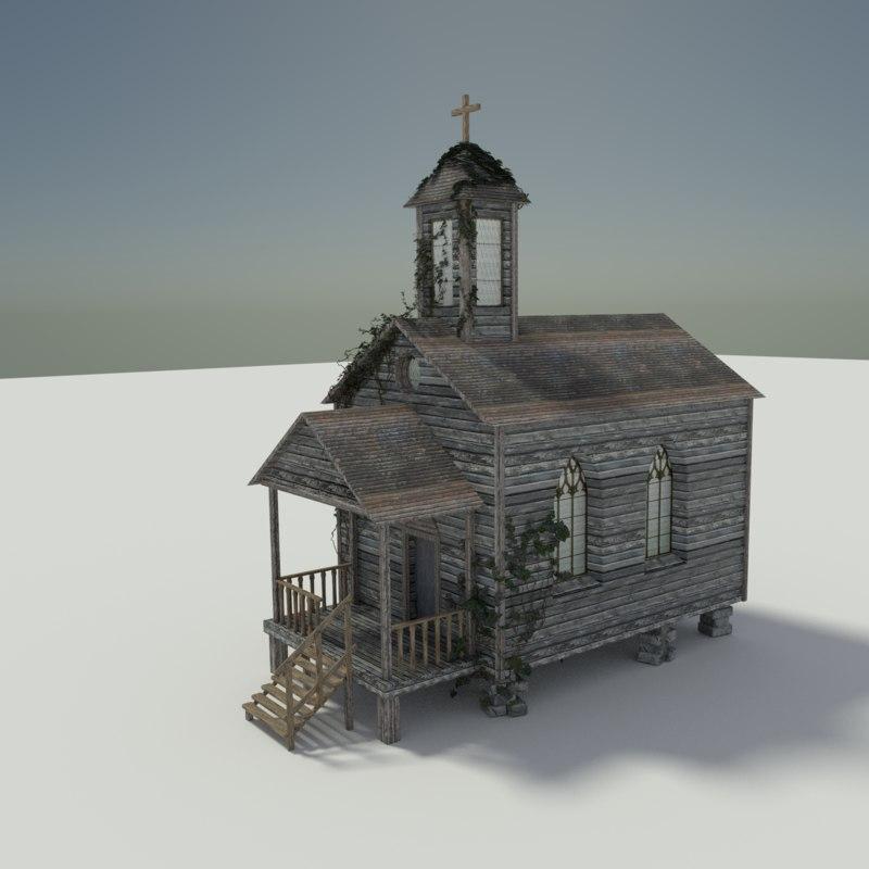 3d wooden chapel
