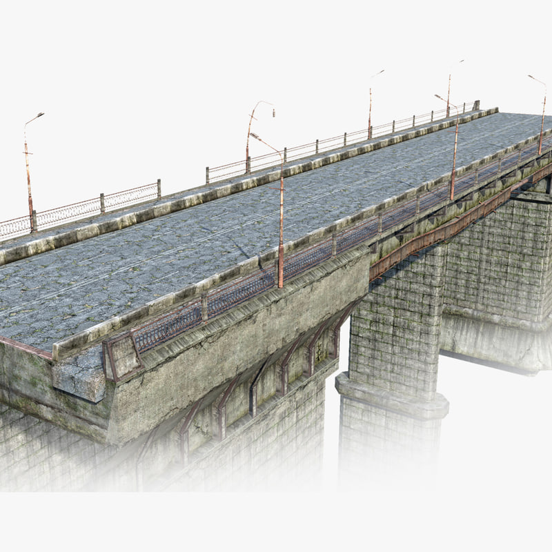 low-poly road bridge 3d model