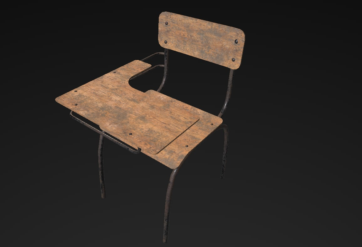 old school desk 3d model