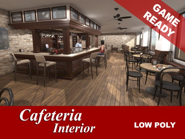 3d interior cafeteria model