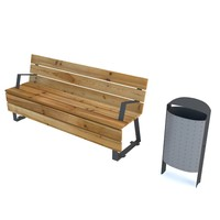 bench wood with waste bin