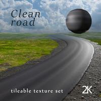 Clean road tileable texture set