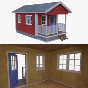 3d scandinavian cabin interior exterior