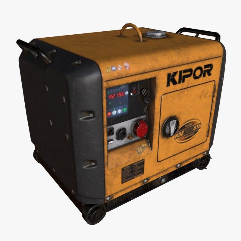 generator kipor 7000sta 3d model