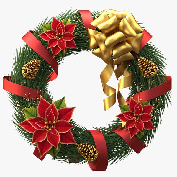 christmas wreath v2 3d 3ds