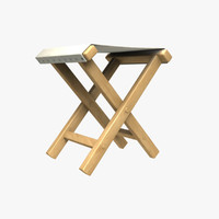 civil war camp stool 3d obj