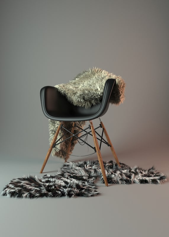 3d chair fur model
