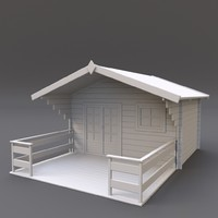 3d model wooden shed