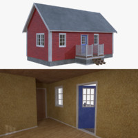 3d scandinavian cabin interior exterior model