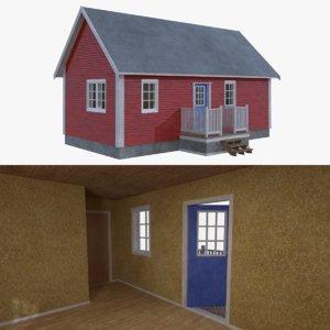 obj scandinavian cabin interior exterior