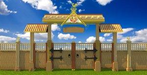 beautiful wooden decorative gates 3d model