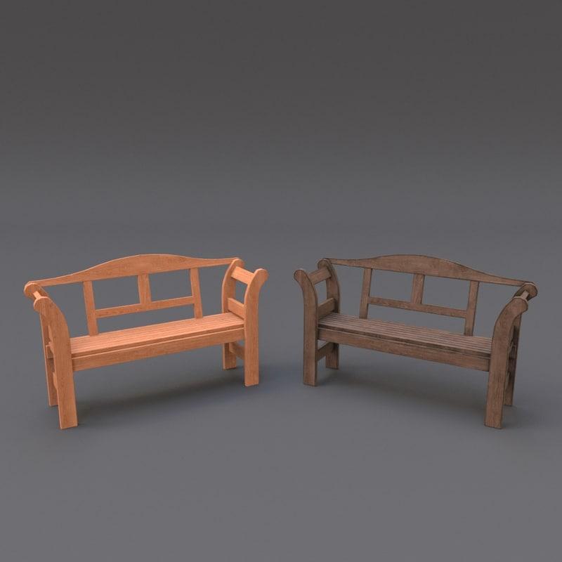 obj wooden bench