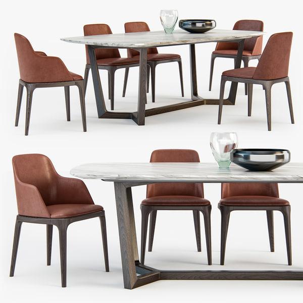 poliform grace chair concorde 3d model