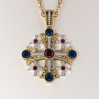 3d jerusalem cross pendant gemstones model