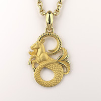 capricorn zodiac sign pendant 3d model