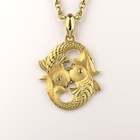 pisces zodiac sign pendant 3ds