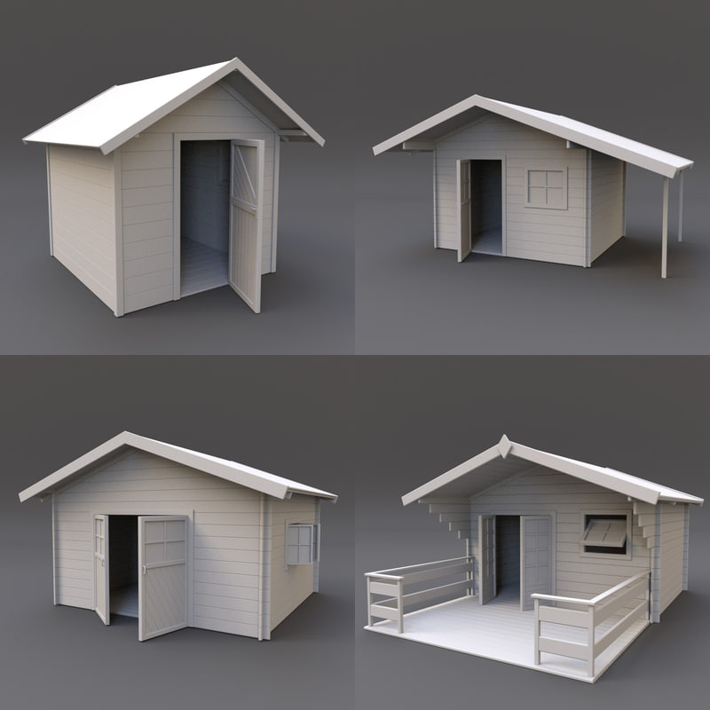 3d wooden shed 01