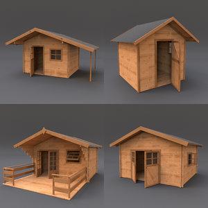 3d model wooden shed 02