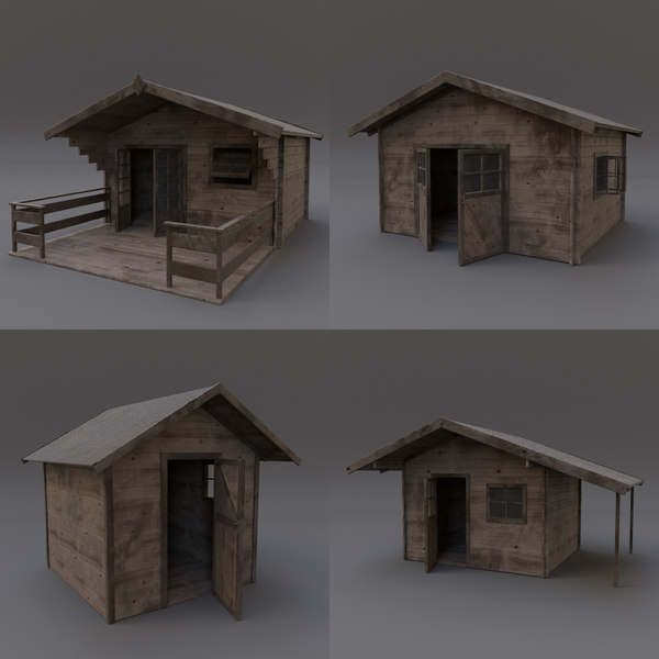 3d wooden shed 03