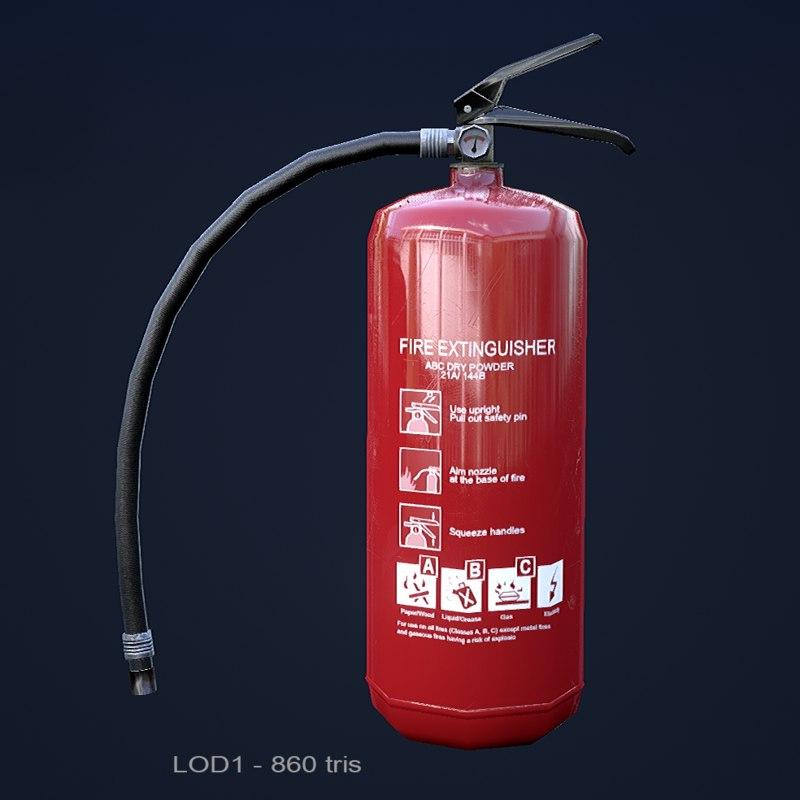 3d model extinguisher ready pbr 1