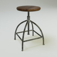 3d worn industrial bar chair model