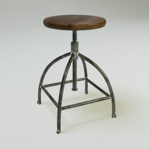 3d worn industrial bar chair model