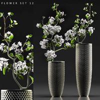 3d model flower vase set 12