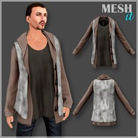 vest fur male 3d obj