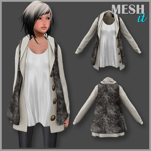vest fur female 3d model