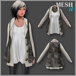 vest fur female 3d model