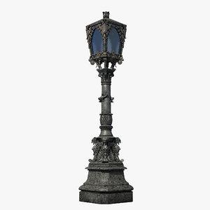 3d gothic street lamp