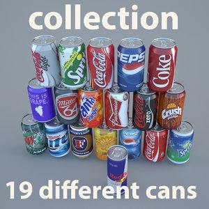 soda beer cans aluminium 3d model