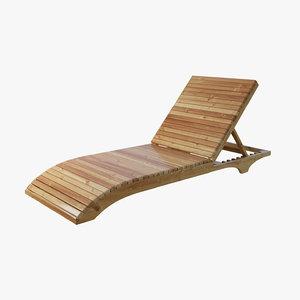 wood lounge chair 3d x
