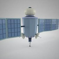 3d model of stylized cartoon satellite