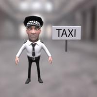 3d model of cartoon taxi driver character