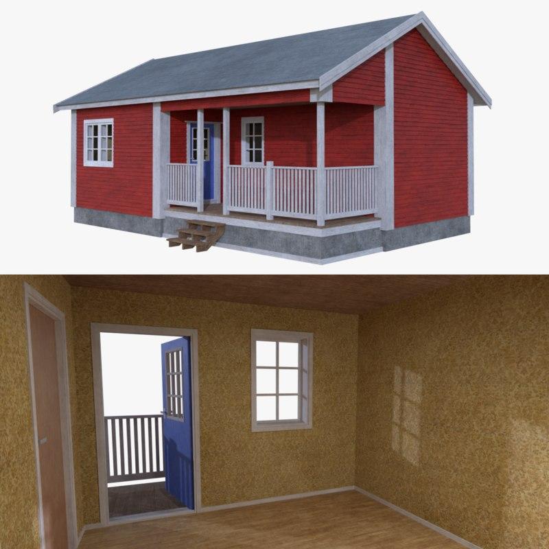3d scandinavian cabin interior exterior model