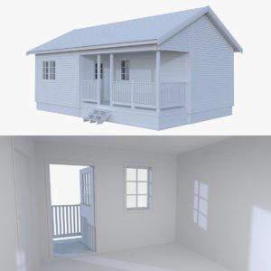 scandinavian cabin interior exterior 3d model