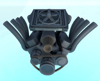 simple v8 engine 3d obj